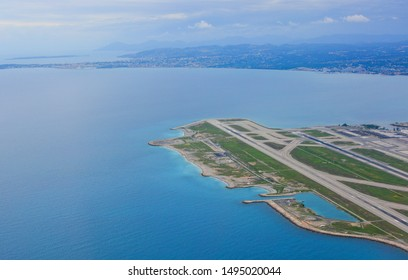 Panorama of the French Riviera and Nice airport, France. View from above
