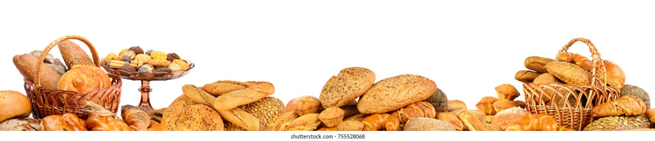 Panorama of fresh bread products isolated on white background.