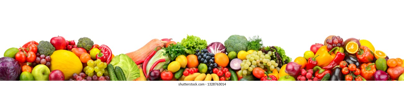Panorama fresh fruits and vegetables isolated on white background. Collage for skinali (glass panel). Food concept