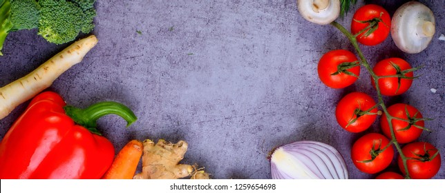 panorama with fresh vegetables, healthy food, vitamins for the human body, from above.