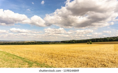 Panorama from freshly harvested agricultural field with stubble under a cloudy blue sky in open farmland