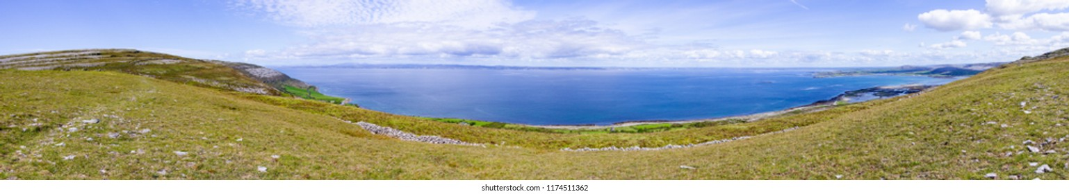 Panorama of Galway and Ballyvaughan bay in Burren way trail, Clare, Ireland