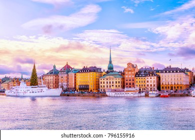 Panorama of Gamla Stan, Old Town in Stockholm, the capital of Sweden