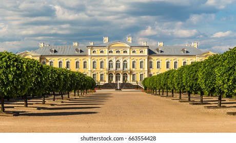 Panorama of Garden in Rundale Palace in a beautiful summer day, Latvia