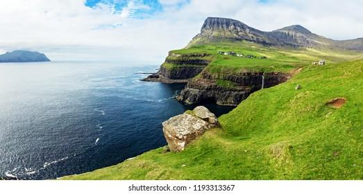 Panorama of Gasadalur area, Faroe islands, Denmark