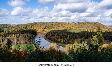 Panorama of Gauja national park in Latvia. The viewing place Keizarskats (Emperor's View was installed in 1862, when Russian Tsar Alexander II visited Sigulda.