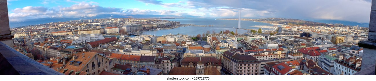 Panorama of Geneva city by beautiful day from cathedral famous Saint-Pierre, Switzerland (HDR)
