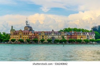 Panorama of the german city Konstanz situated on the bodensee lake