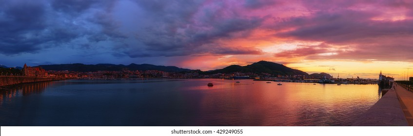 panorama of Getxo port at the sunset
