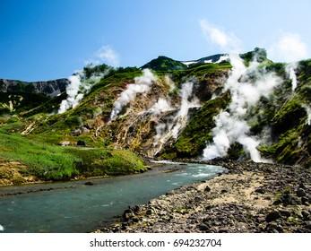 Panorama of Geysers Valley in Kamchatka peninsula, Russia