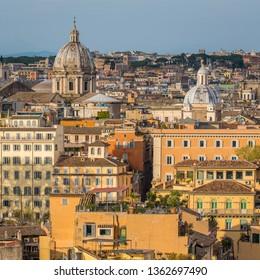 Panorama from the Gianicolo Terrace with the dome of Sant'Andrea della Valle and Santissima Trinità dei Pellegrini church in Rome, Italy.