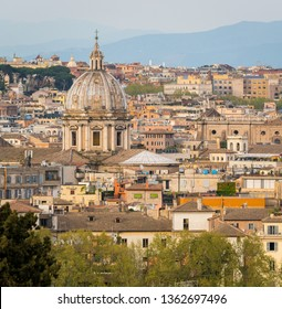 Panorama from the Gianicolo Terrace with the dome of Sant'Andrea della Valle Church in Rome, Italy.