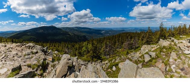 Panorama of Giant Mountains Karkonosze seen from peak of Skalny Stol - Rock Table mountain