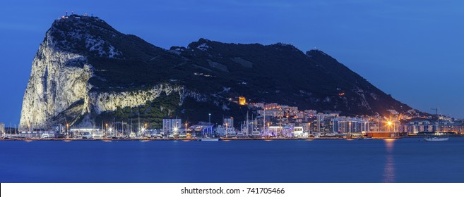 Panorama of Gibraltar seen from La Linea de la Concepcion. Gibraltar.