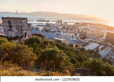 Panorama of Gibraltar at sunset. Gibraltar, Gibraltar.