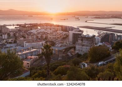 Panorama of Gibraltar at sunset. Gibraltar, Gibraltar.