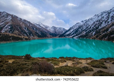 panorama of the glacial lake, Big Almaty Lake, Kazakhstan, Almaty