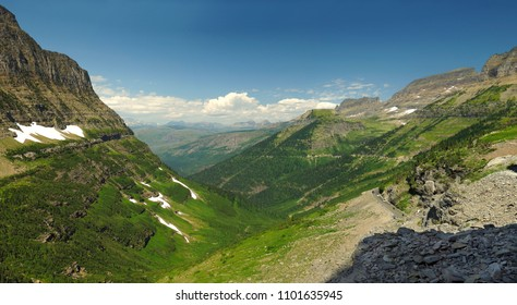 Panorama of Glacier National Park the going to the Sun Highway and the Highline Trail