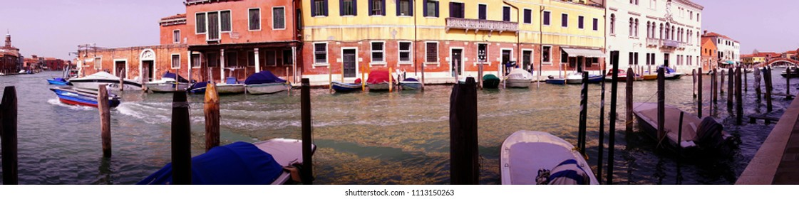 Panorama of glass making town of Murano Venice, Italy