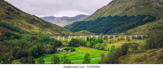 Panorama of Glenfinnan Viaduct in Scotland.