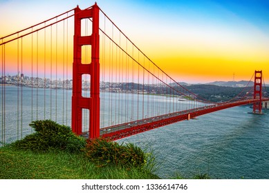 Panorama of the Gold Gate Bridge and San Francisco city at night, California, USA.