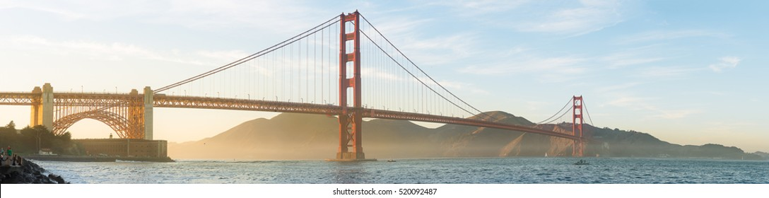 Panorama of Golden Gate Bridge in the best beautiful moment from San Francisco