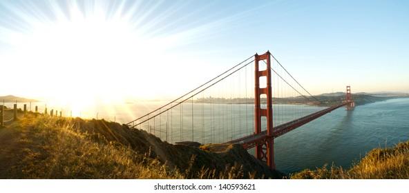 Panorama of Golden Gate Bridge at Dawn
