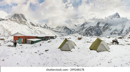 Panorama of the Gorak Shep village after night snow storm.  Everest Base Camp on background - Nepal, Himalaya