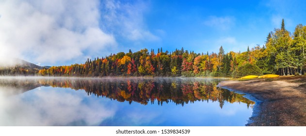 Panorama of a gorgeous forest in autumn, a scenic landscape with pleasant warm sunshine. Autumn forest reflected in water. Colorful autumn morning in the mountains. Autumn in Canada.