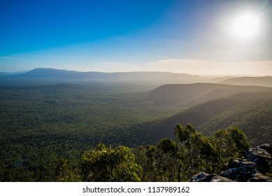 Panorama of Grampians National park on sunset. Wild nature of Australia. Adventure in the mountain area in good sunny day. Trakking and hiking in Victoria state.