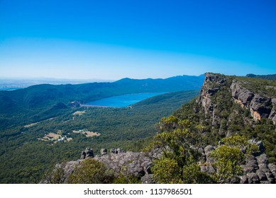Panorama of Grampians National park. Wild nature of Australia. Adventure in the mountain area in good sunny day. Trakking and hiking in Victoria state.