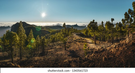 panorama from gran canaria to the el teide volcano on tenerife, canary islands