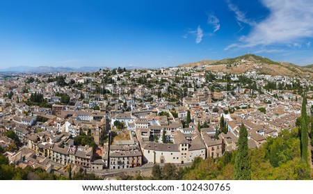 panorama granada spain view alhambra palace の写真素材 今すぐ編集