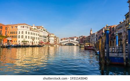 Panorama of Grand canal and Rialto bridge in Venice