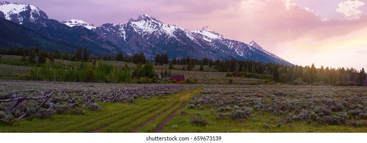 Panorama of the Grand Tetons at sunrise