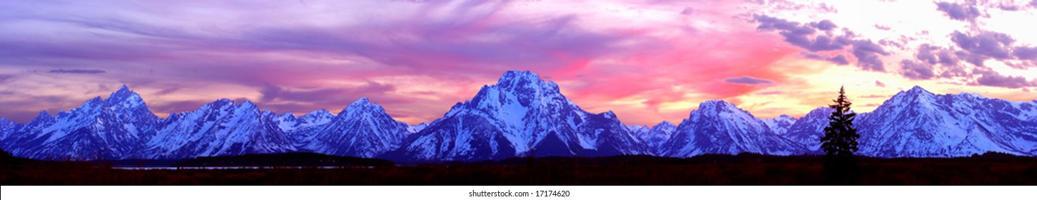 Panorama of the Grand Tetons at Sunset.