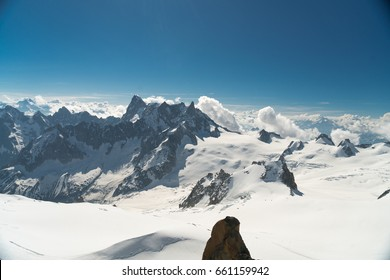 Panorama of Grandes Jorasses and Chamonix valley from Aiguille du Midi - Mont Blanc mountain, Haute-Savoie, France