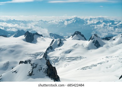 Panorama of Grandes Jorasses and Dent du Geant from Aiguille du Midi - Mont Blanc mountain, Haute-Savoie, France