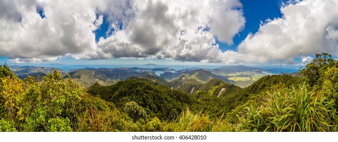 Panorama of Great Barrier Island from Mt Hobson, New Zealand