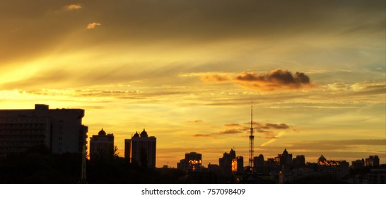 Panorama of a great city, sunset