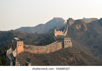 Panorama of the Great Wall of China in the snow