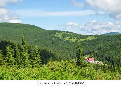 Panorama of green Carpathian mountains and camp site Zaroslyak. Active lifestyle, outdoor activity, vacation, sports and recreation concept.