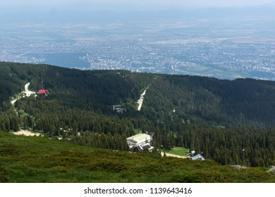 Panorama with green hills at Vitosha Mountain, Sofia City Region, Bulgaria