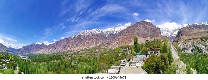 Panorama of greenery in Hunza valley of Karimabad, Gilgit Balistan, Pakistan on sunny day