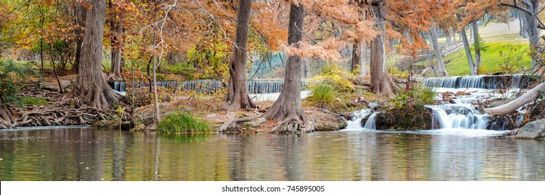 Panorama Of Guadalupe River In Hunt Texas Hill Country