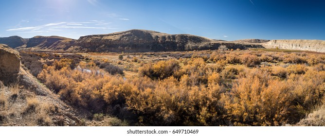 Panorama of Gunnison River in Delta County, Colorado on a sunny fall afternoon.