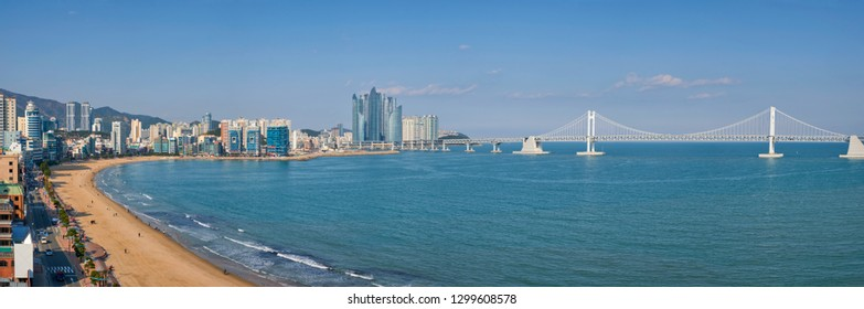 Panorama of Gwangalli Beach in Busan, South Korea. Aerial view