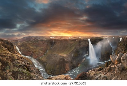Panorama of Haifoss waterfall in Iceland at sunset in the summer