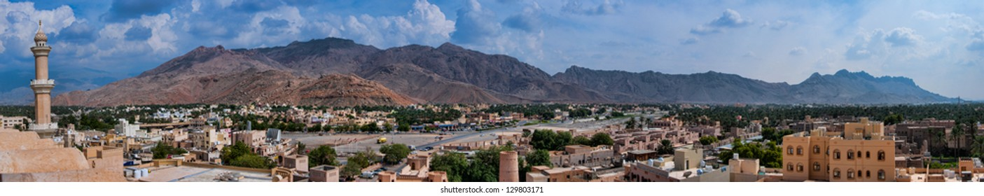 Panorama of the Hajar Mountains and Nizwa from Nizwa fort in Oman