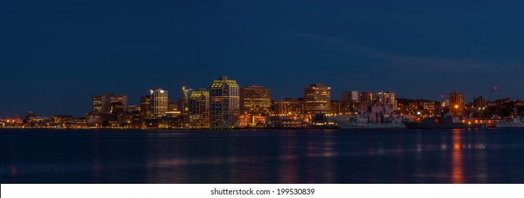Panorama of Halifax Nova Scotia at night (taken from across the harbour in Dartmouth)